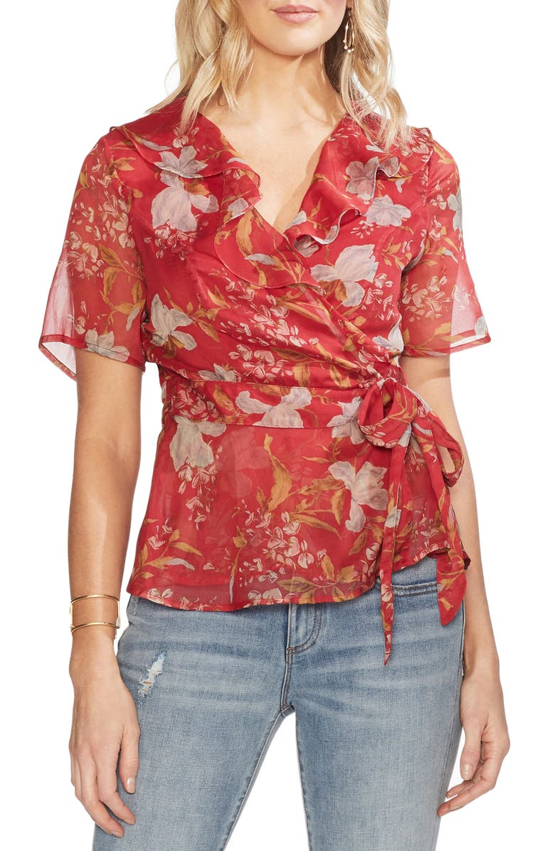 VINCE CAMUTO Wildflower Wrap Front Tie Blouse, Main, color, 643