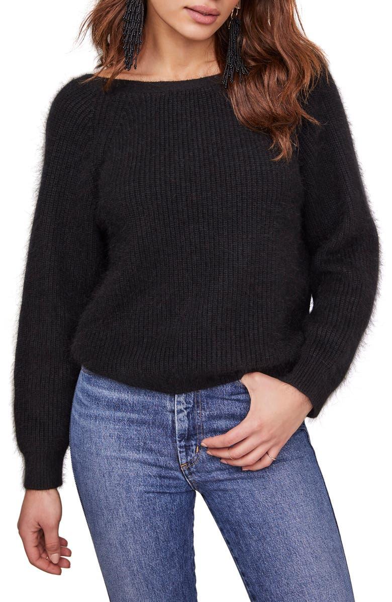 ASTR THE LABEL Serena V-Back Sweater, Main, color, BLACK