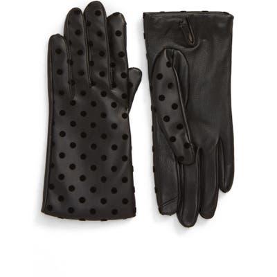 Nordstrom Flecked Dot Leather Gloves, Black