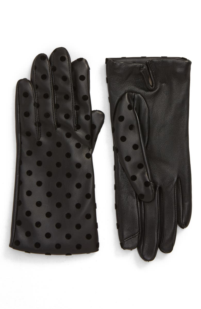 NORDSTROM Flecked Dot Leather Gloves, Main, color, BLACK