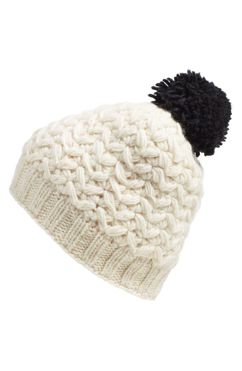 NIRVANNA DESIGNS 'Black Pom' Knit Beanie, Main, color, 100