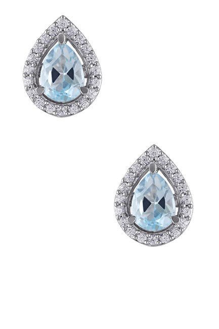 Image of Delmar Sterling Silver Sky Blue Topaz & Created White Sapphire Earrings