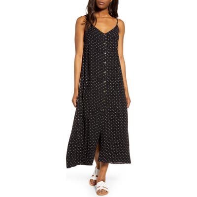 Gibson X The Motherchic Al Fresco Strappy Button Up Midi Sundress, Black