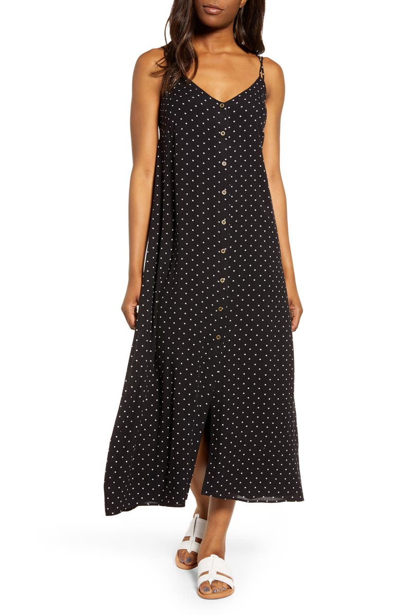 GIBSON x The Motherchic Al Fresco Strappy Button Up Midi Sundress, Main, color, BLACK/ IVORY DOT