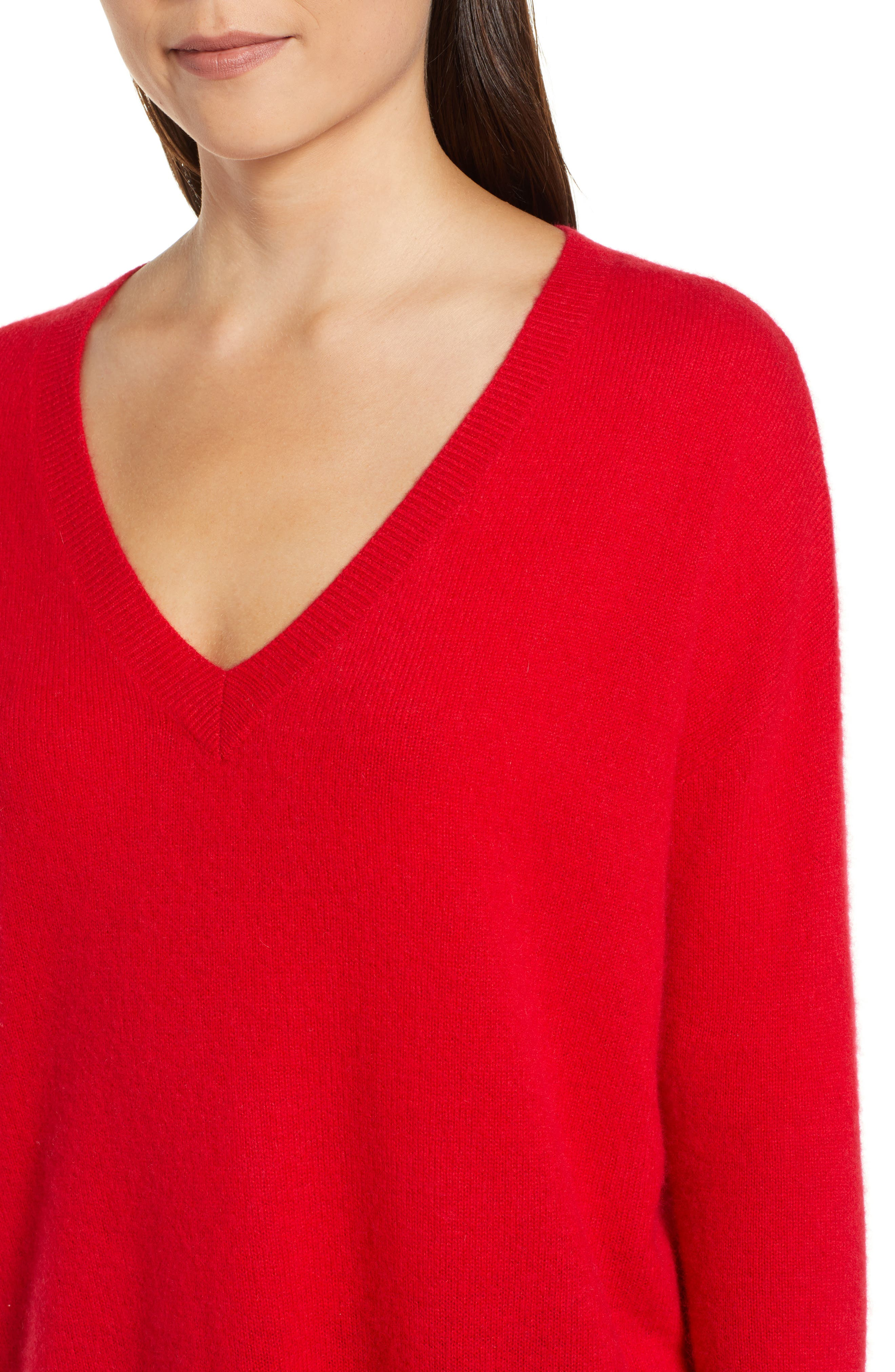 ,                             Relaxed V-Neck Cashmere Sweater,                             Alternate thumbnail 60, color,                             610