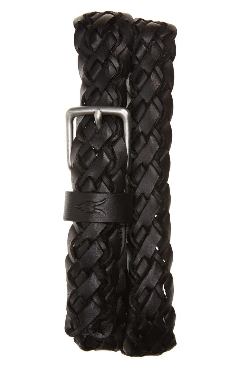 ALLSAINTS Braided Leather Belt, Main, color, BLACK