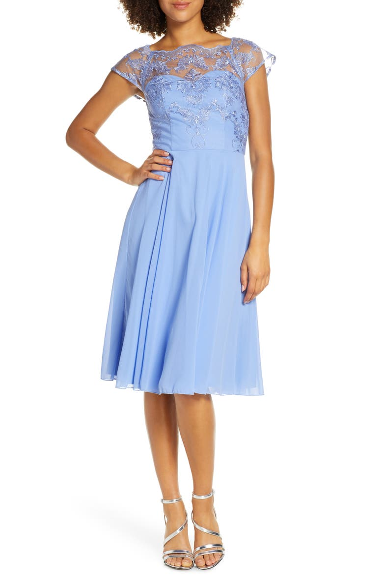 CHI CHI LONDON Simoni Embroidered Chiffon Cocktail Dress, Main, color, BLUE