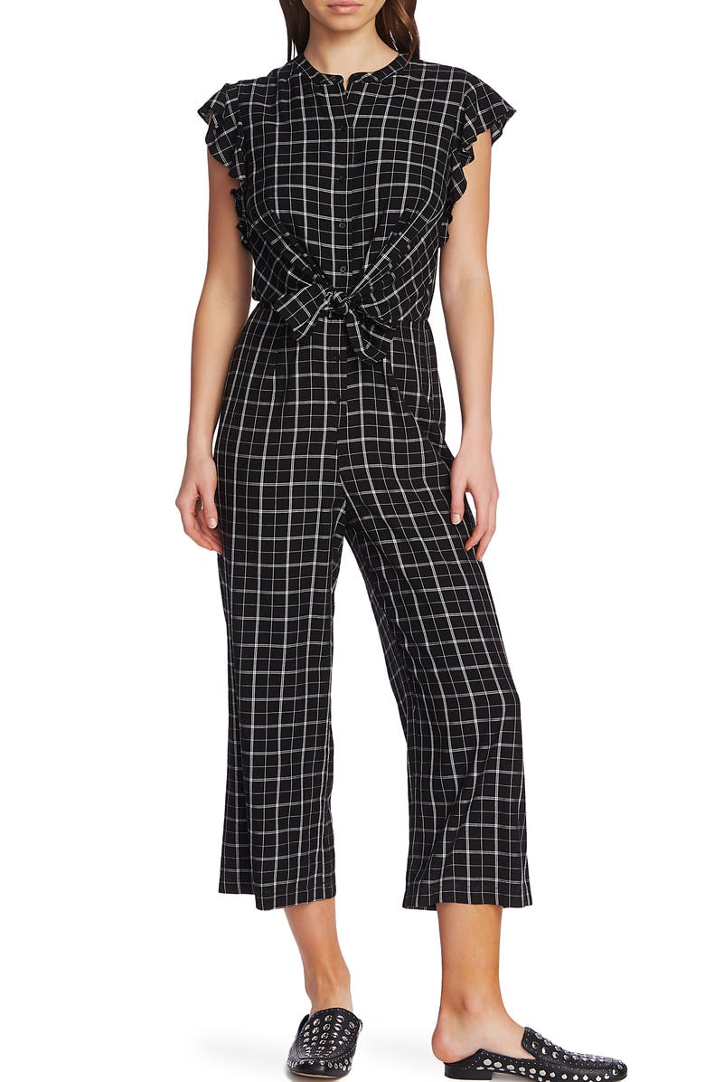 1.STATE Flutter Sleeve Renegade Check Jumpsuit, Main, color, 006
