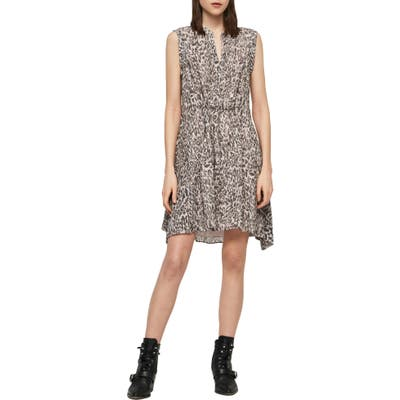 Allsaints Clari Kara Leopard Print Sleeveless Dress, Pink