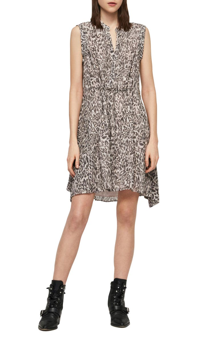 ALLSAINTS Clari Kara Leopard Print Sleeveless Dress, Main, color, 695