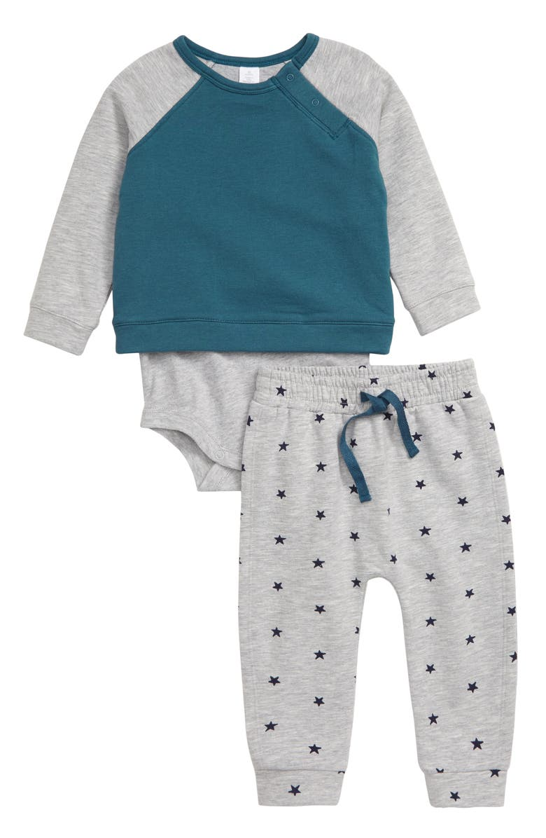 NORDSTROM Color Block Knit Bodysuit & Sweatpants Set, Main, color, TEAL INDIA- GREY STARS