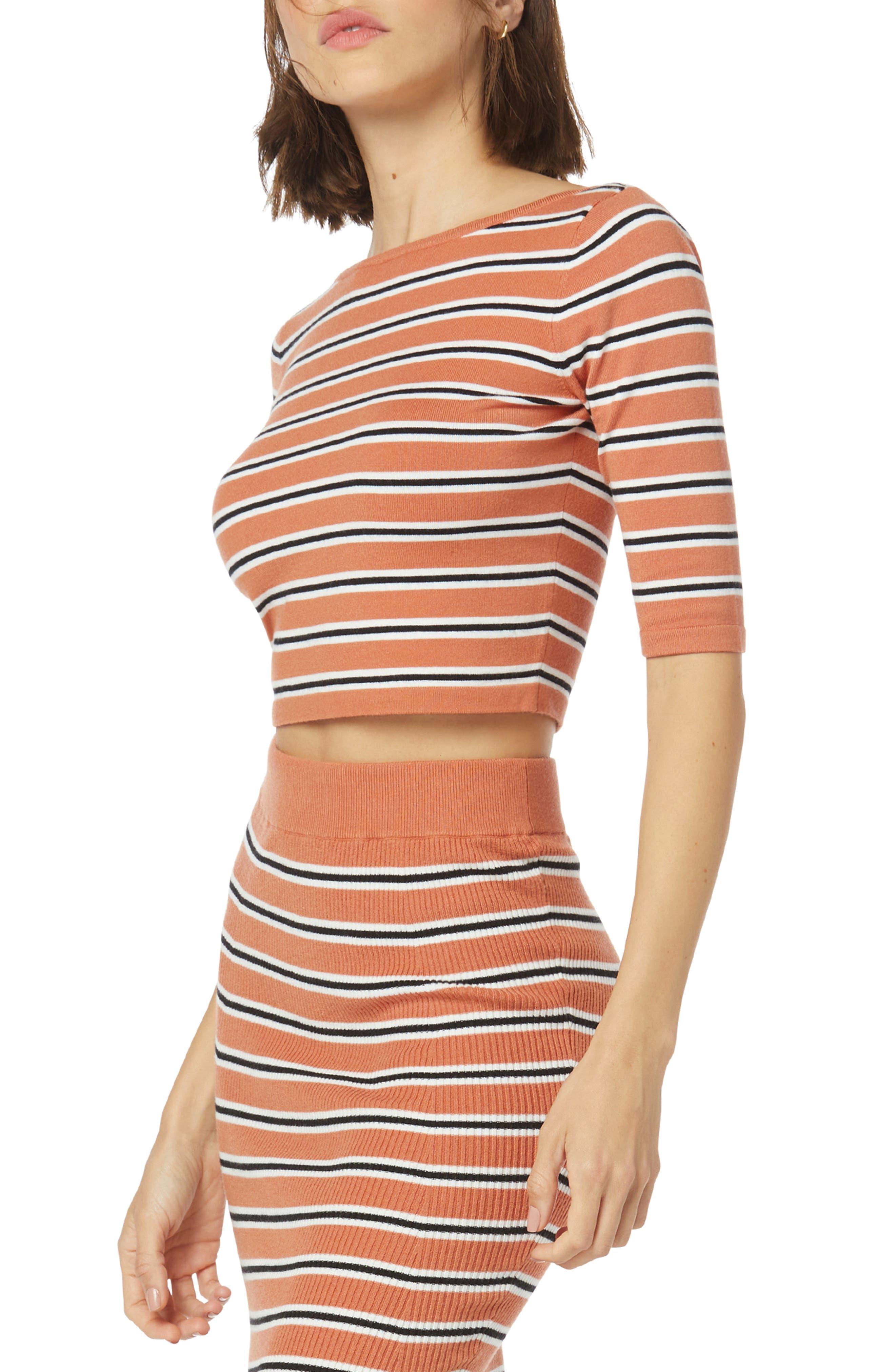 The Revenge Stripe Crop Knit Top