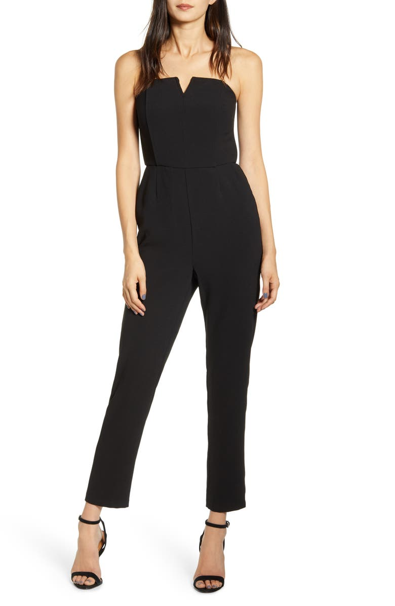 CUPCAKES AND CASHMERE Jessalyn Strapless Jumpsuit, Main, color, BLACK