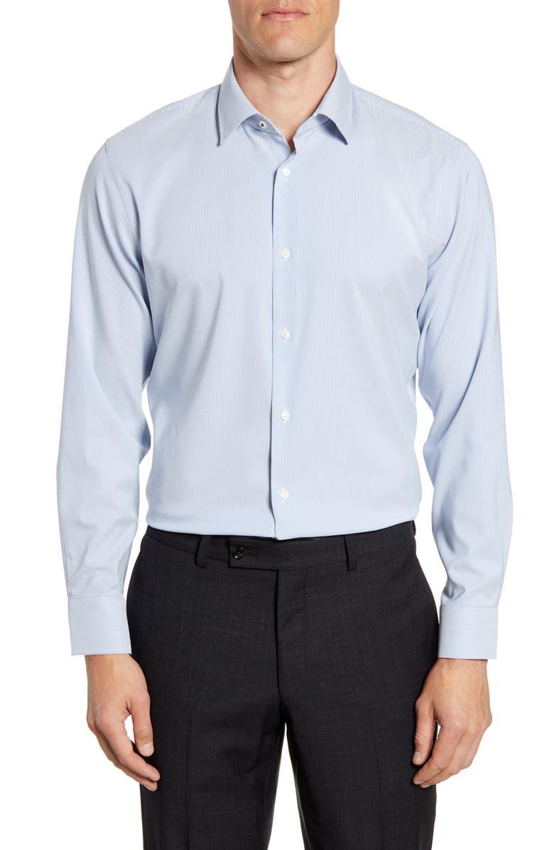 NORDSTROM MEN'S SHOP Tech-Smart Trim Fit Stripe Dress Shirt, Main, color, BLUE AMPARO