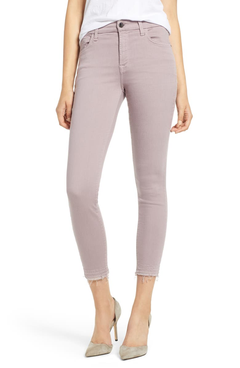 JEN7 BY 7 FOR ALL MANKIND Release Hem Colored Ankle Skinny Jeans, Main, color, SOFT PURPLE