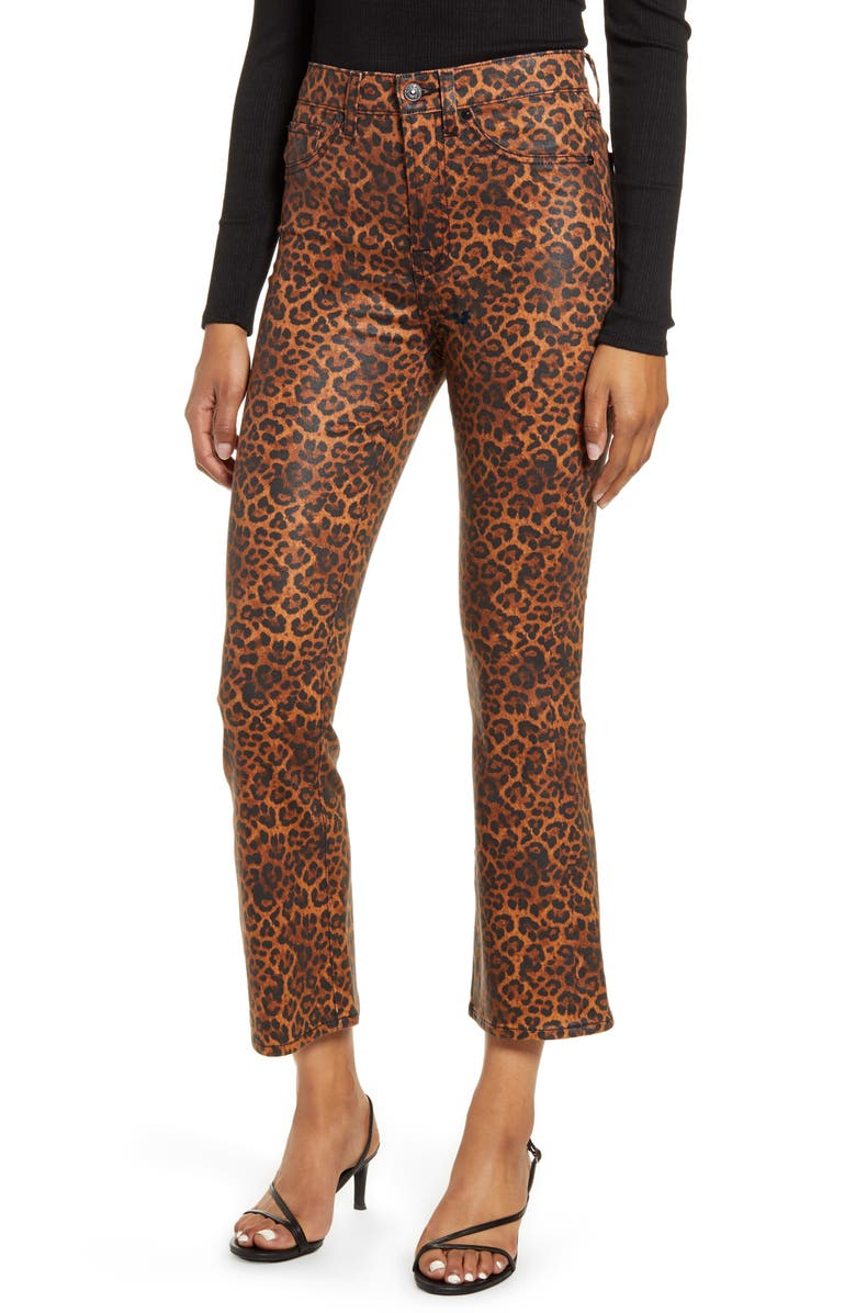 7 FOR ALL MANKIND<SUP>®</SUP> 7 For All Mankind Coated Leopard Print Slim Fit Kick Flare Jeans, Main, color, COATED BLACK/ PENNY LEOPARD