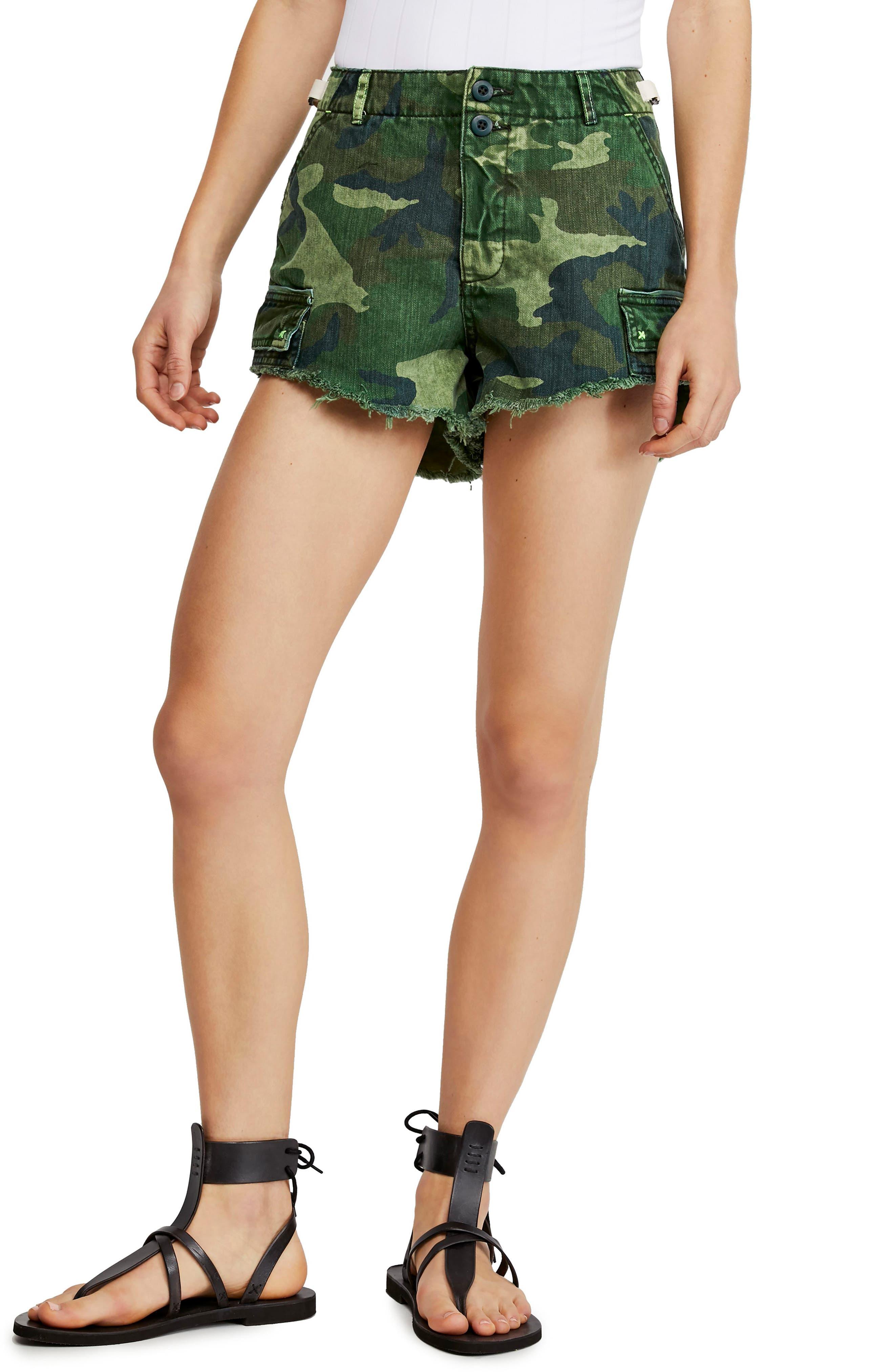 Free People Commander Cutoff Camo Shorts, Green