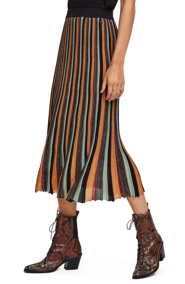 SCOTCH & SODA Pleated Midi Skirt, Main, color, 002