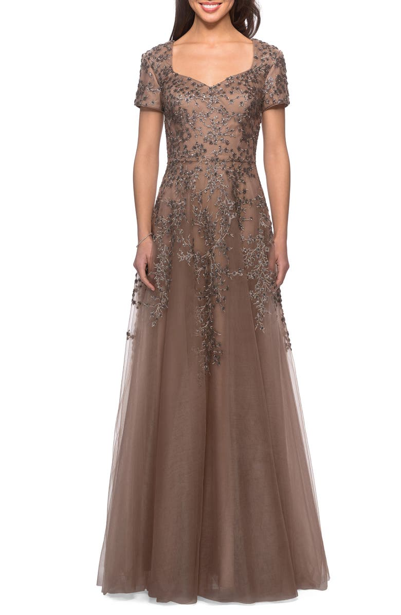 LA FEMME Embellished Tulle A-Line Gown, Main, color, COCOA