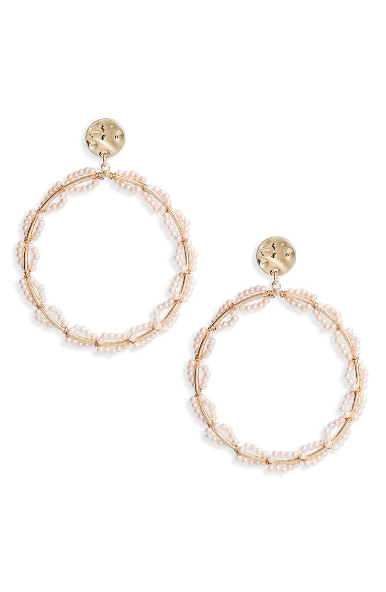 RACHEL PARCELL Tiny Imitation Pearl Wrapped Frontal Hoop Earrings, Main, color, BLUSH- GOLD