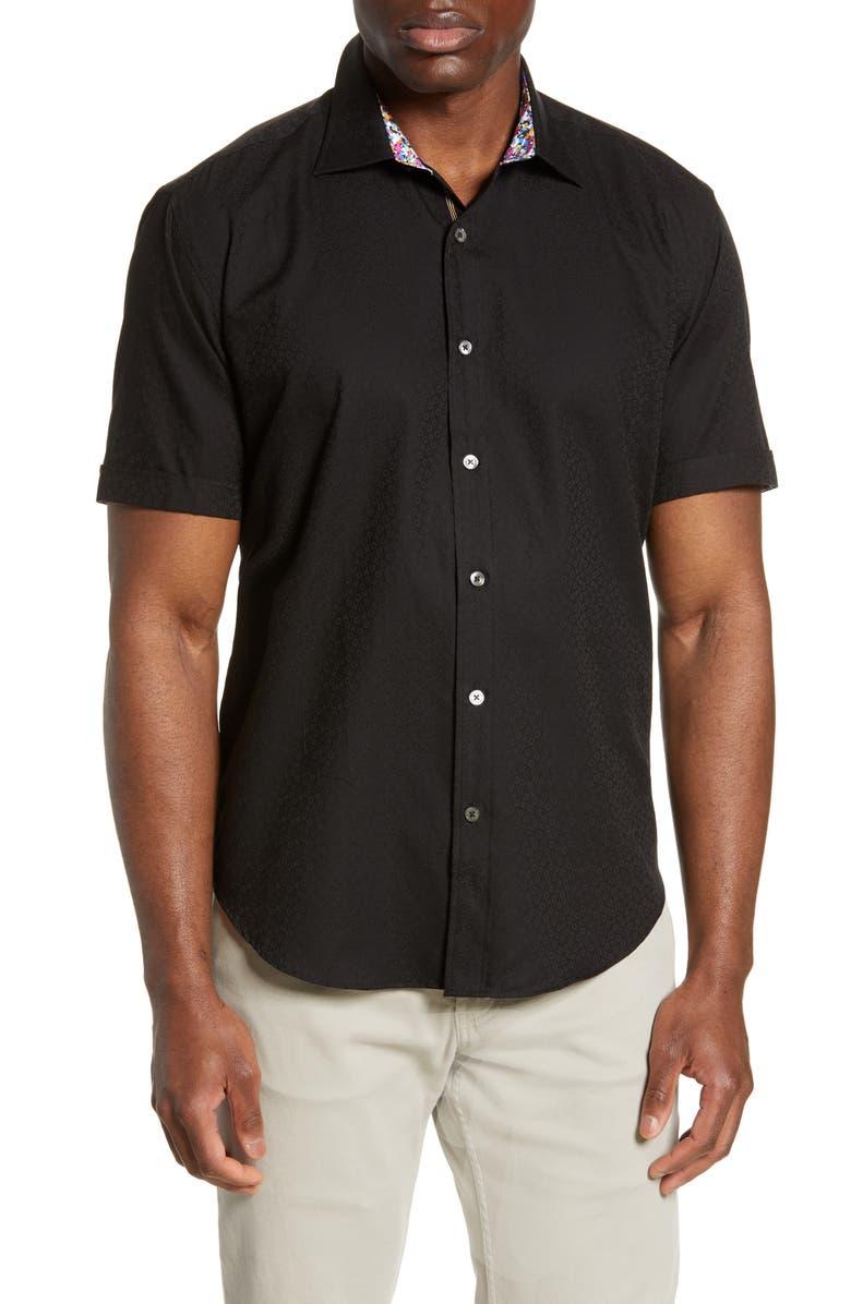 BUGATCHI Shaped Fit Jacquard Shirt, Main, color, BLACK
