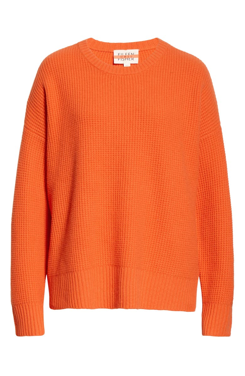 EILEEN FISHER Waffle Knit Recycled Cashmere Blend Sweater, Main, color, SAFETY ORANGE