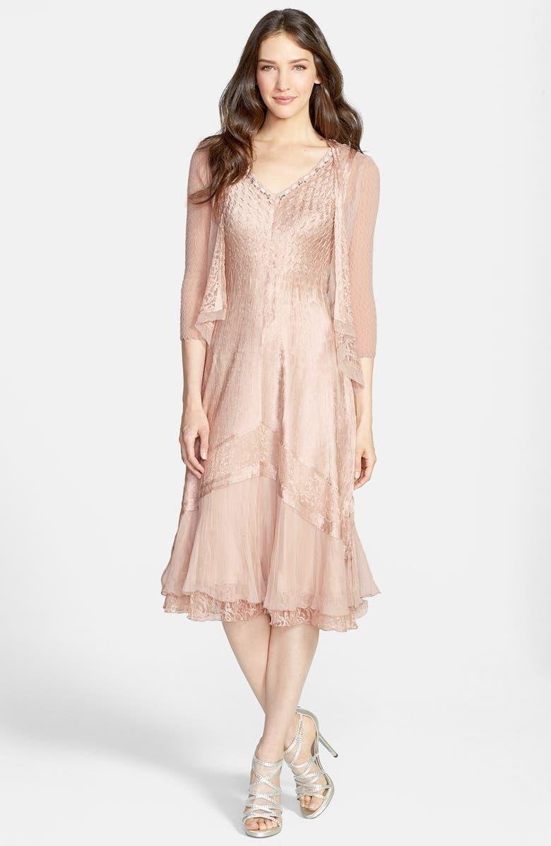 KOMAROV Beaded Neck Charmeuse Dress & Jacket, Main, color, VINTAGE ROSE