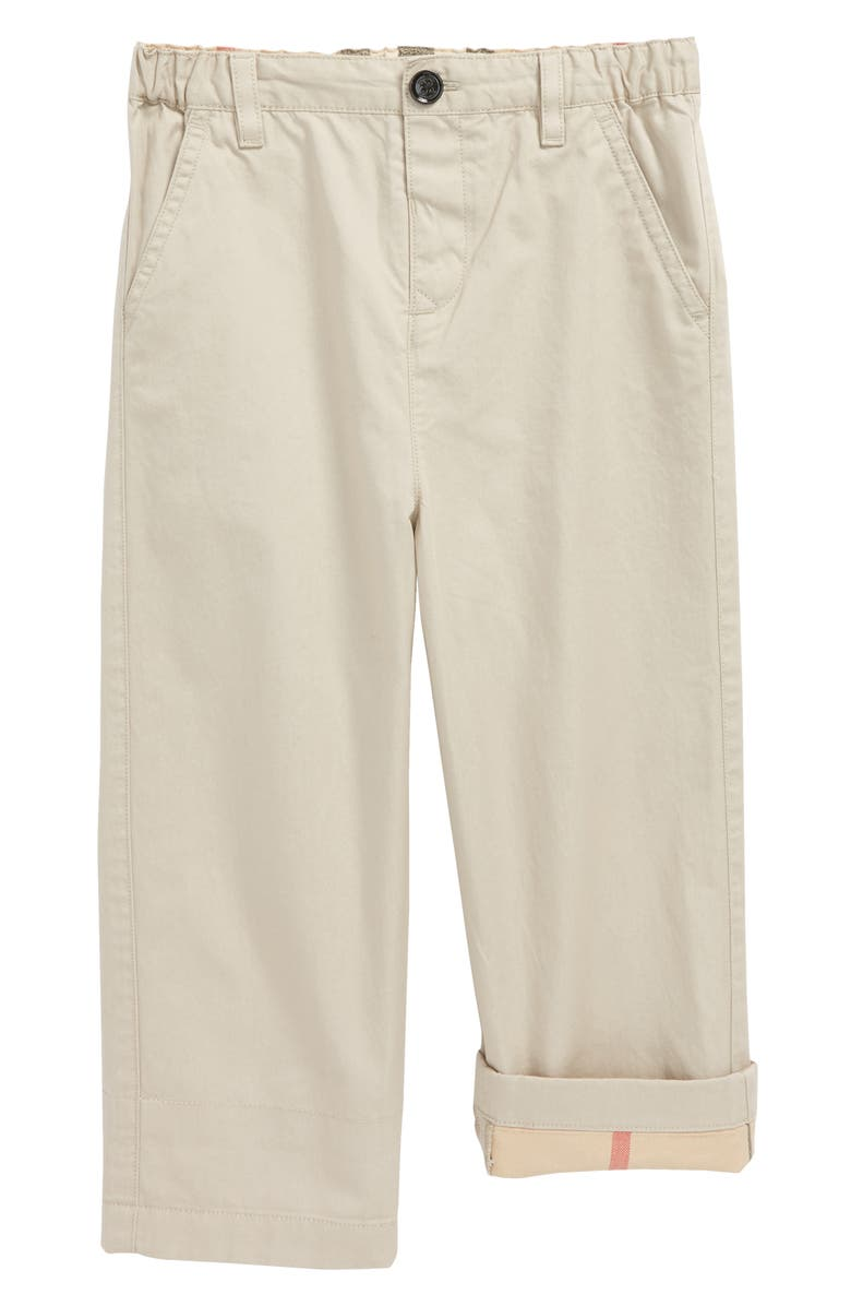 BURBERRY Ricky Check Cuff Chino Pants, Main, color, 028