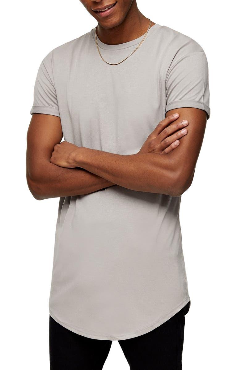 TOPMAN Scotty Longline Slim Fit T-Shirt, Main, color, PORPOISE GREY