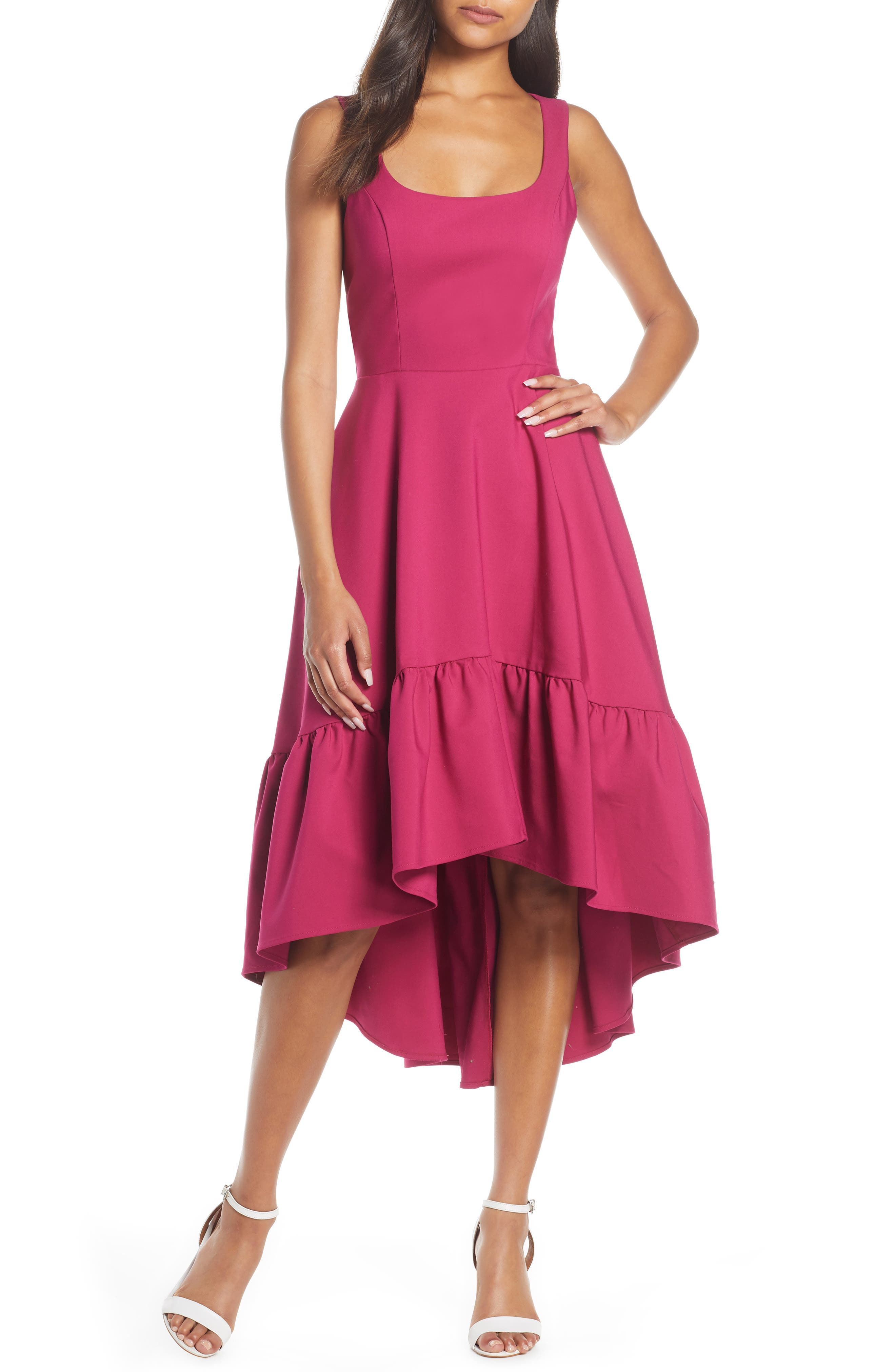Mark & James Badgley Mischka High/low Ruffle Hem Dress, Pink