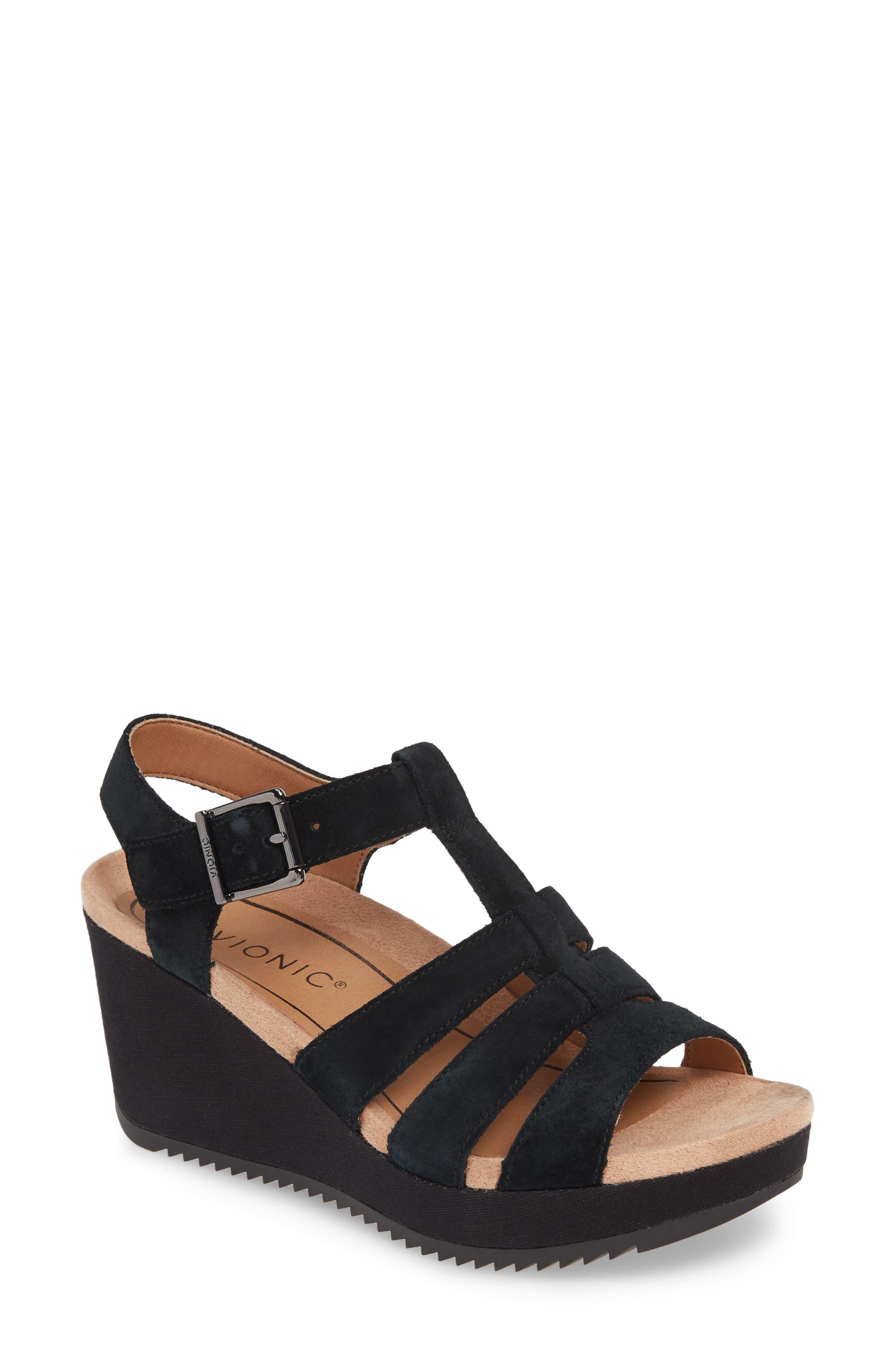 Tawny Wedge Sandal, Main, color, BLACK CANVAS