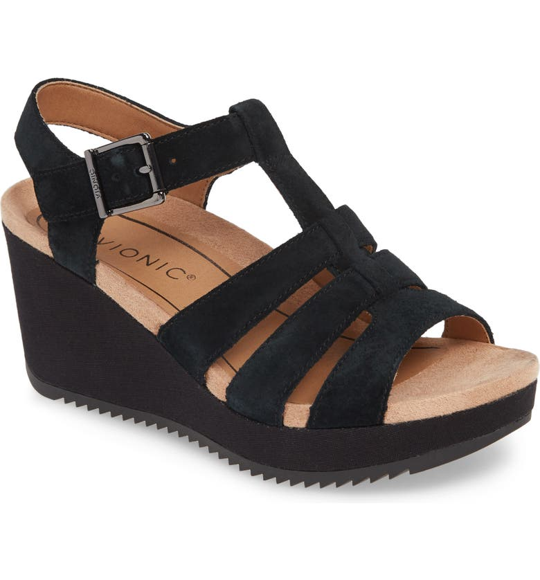 VIONIC Tawny Wedge Sandal, Main, color, BLACK CANVAS