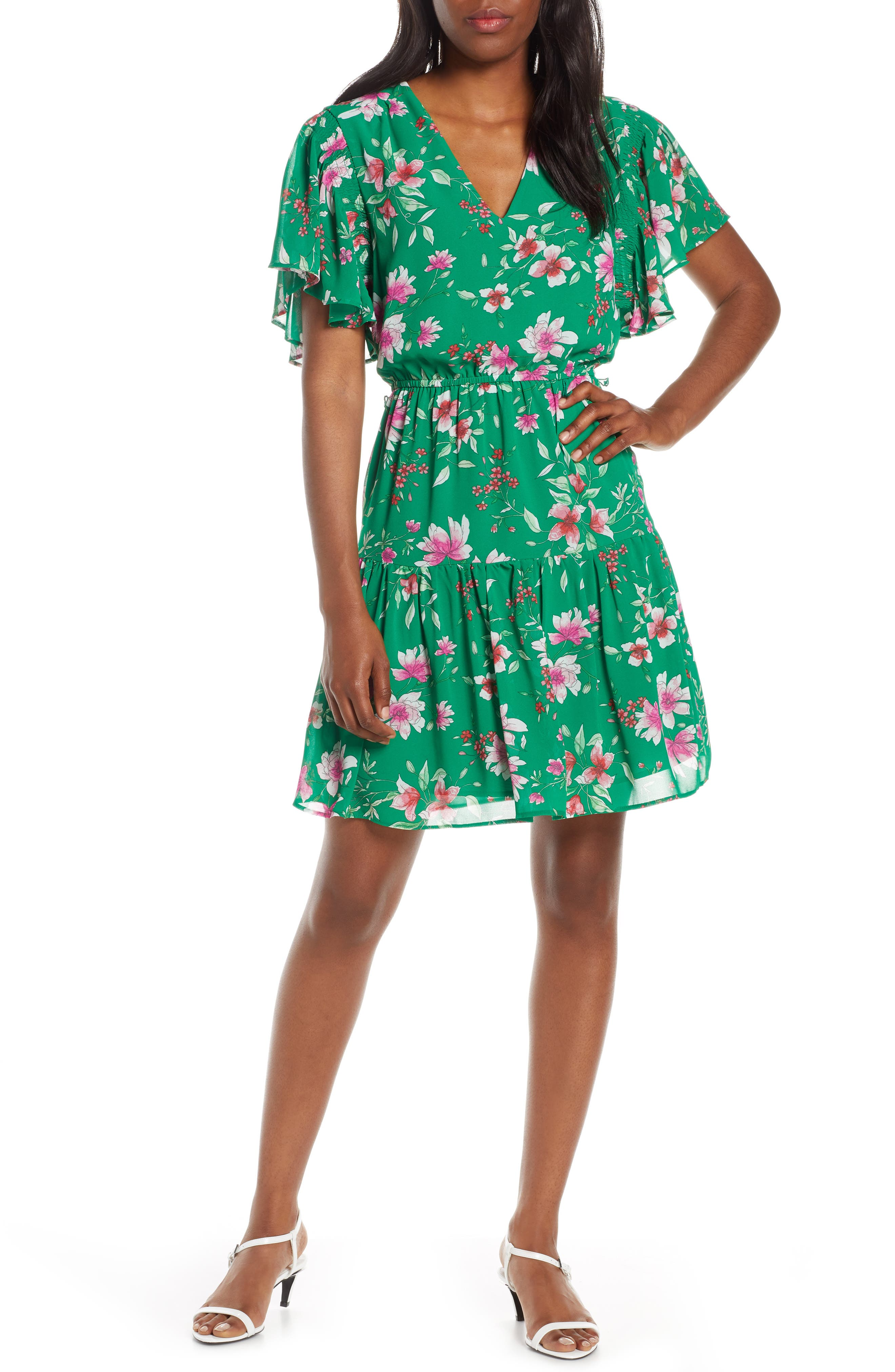 Vince Camuto Floral Print Chiffon Dress, Green