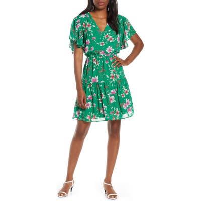 Vince Camuto Floral Print Chiffon Dress, Green