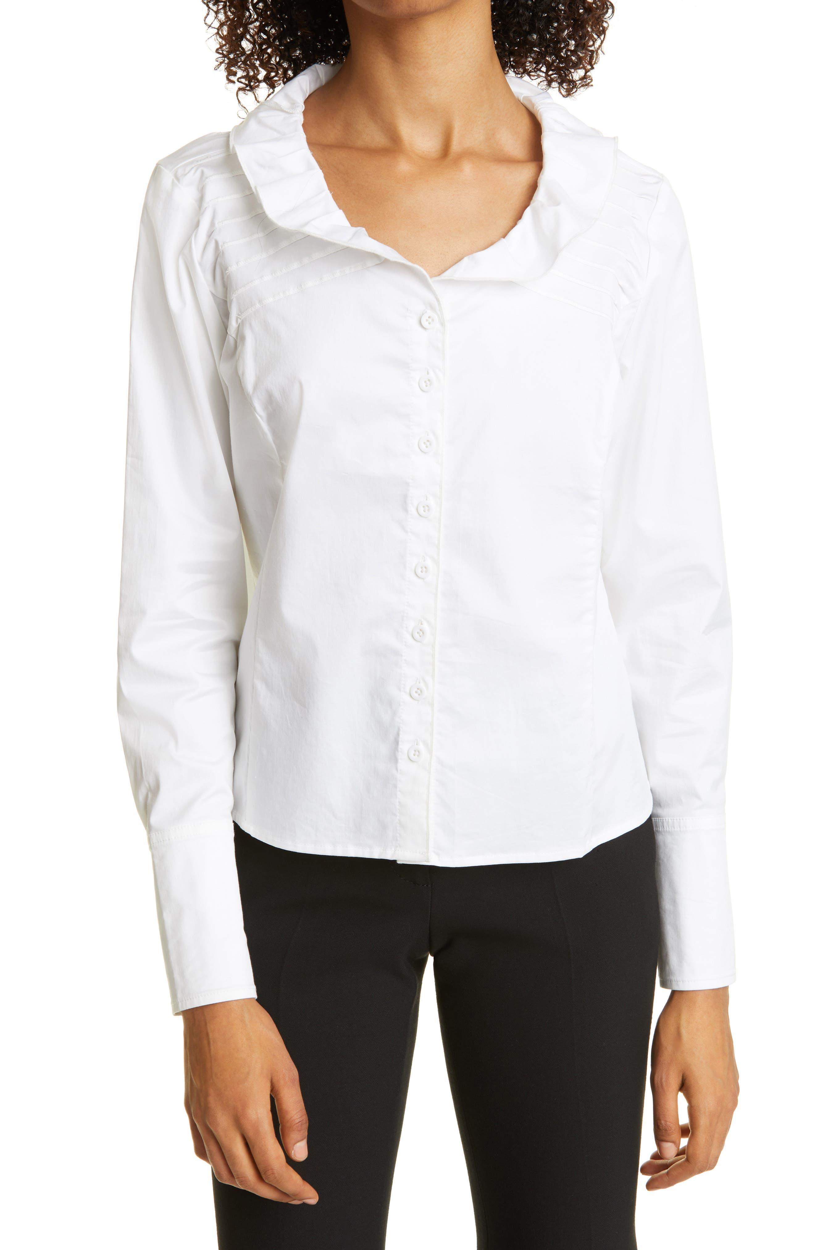 Haute Hippie Ruffle Neck Button-Up Shirt