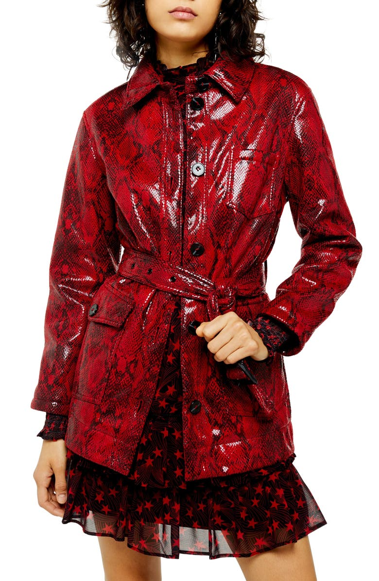 TOPSHOP Casey Snake Print Belted Vinyl Coat, Main, color, RED MULTI
