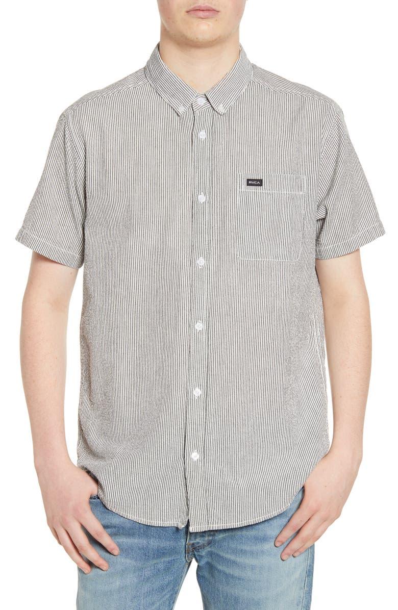 RVCA That'll Do Seersucker Woven Shirt, Main, color, BLACK