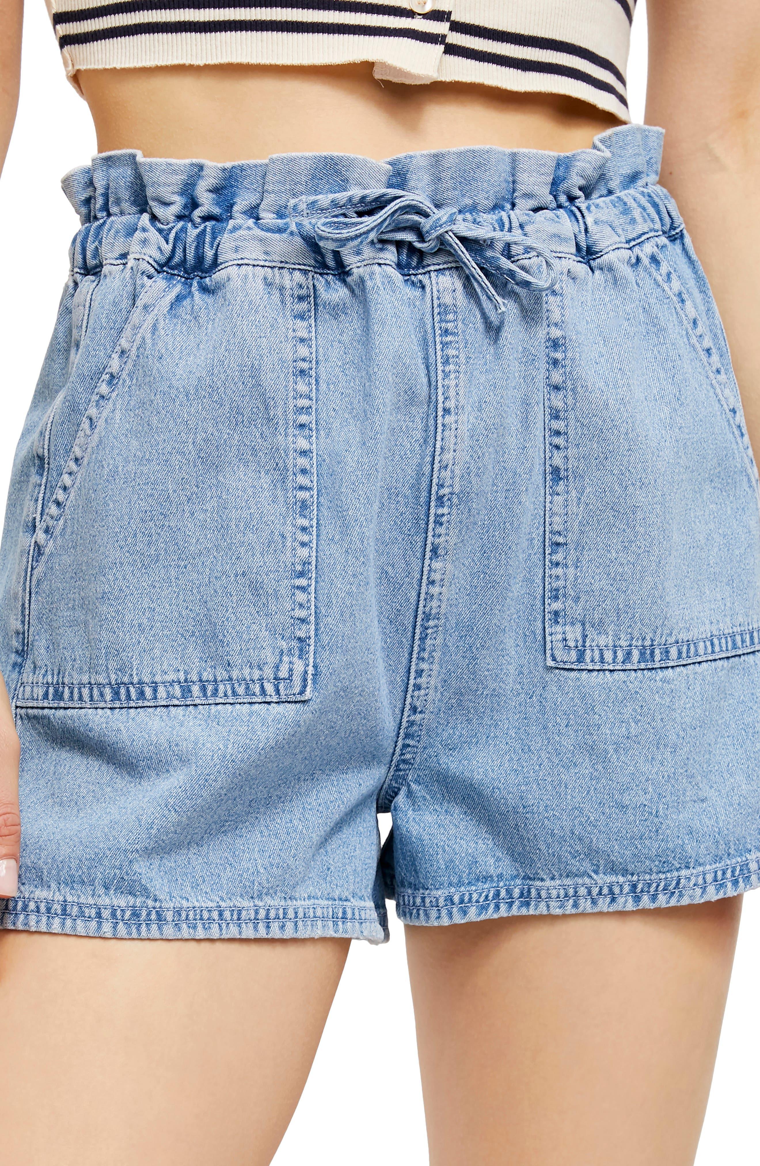 1980s Clothing, Fashion | 80s Style Clothes BDG Hazel Paperbag Waist Denim Shorts Size Large - Blue at Nordstrom Rack $26.97 AT vintagedancer.com