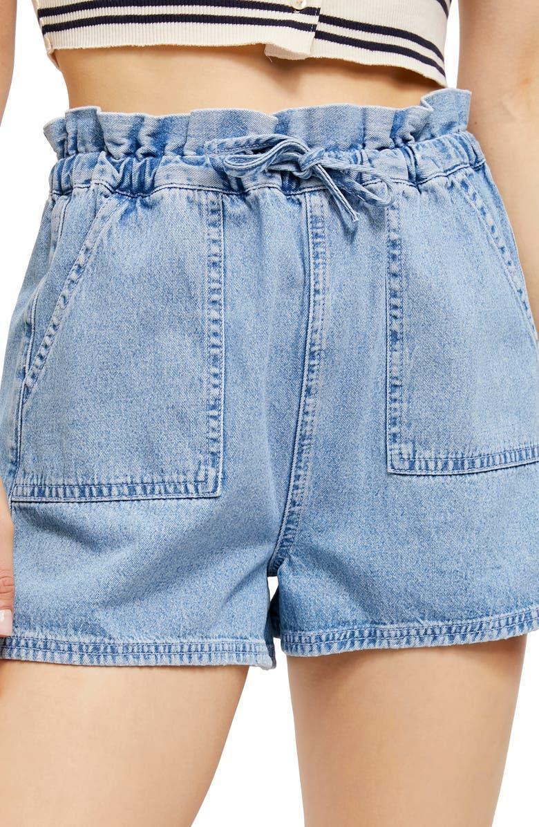 BDG URBAN OUTFITTERS Hazel Paperbag Waist Denim Shorts, Main, color, BLUE