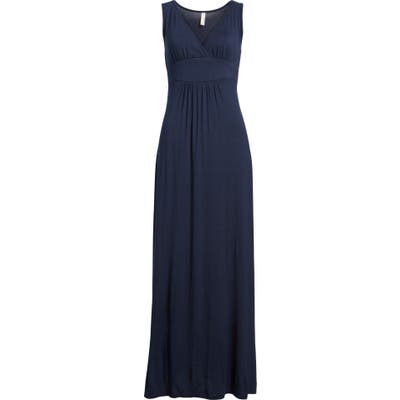 Petite Loveappella V-Neck Jersey Maxi Dress, Blue