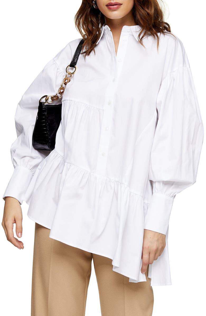 TOPSHOP Tiered Asymmetrical Poplin Shirt, Main, color, WHITE