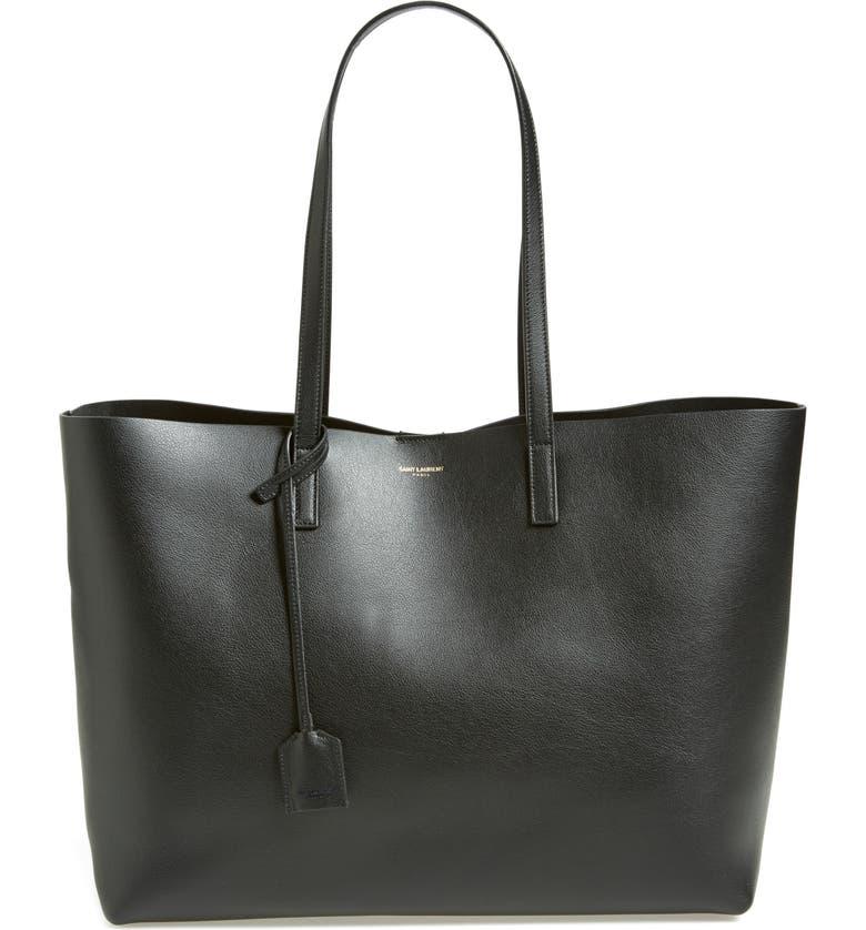 SAINT LAURENT 'Shopping' Leather Tote, Main, color, NOIR