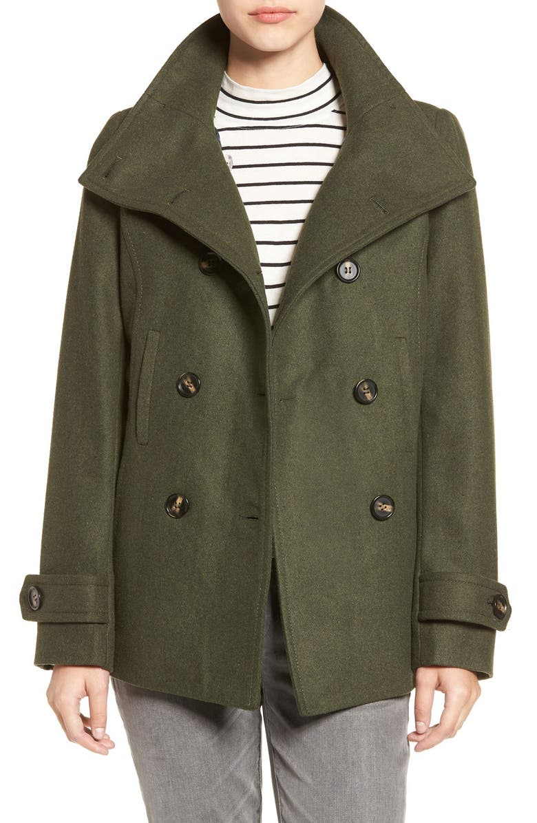 THREAD & SUPPLY Double Breasted Peacoat, Main, color, HUNTER GREEN