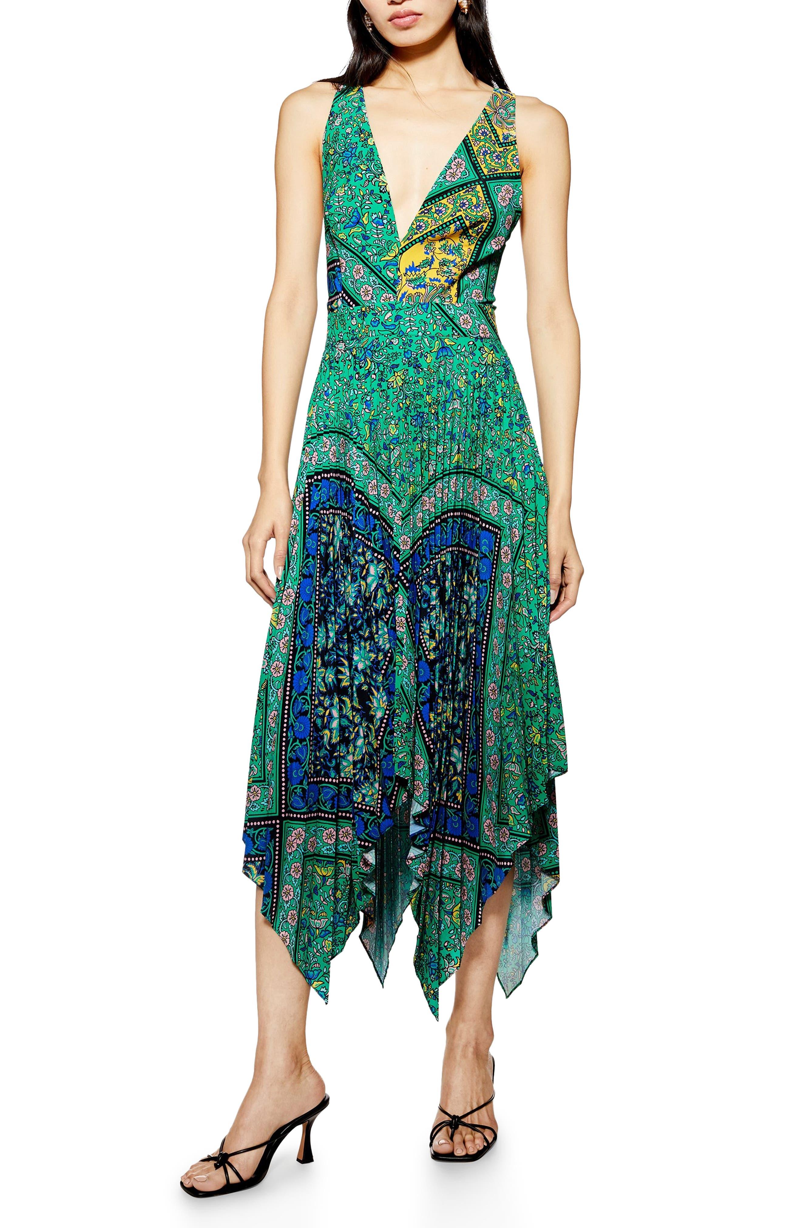 Topshop Paisley Handkerchief Hem Pinafore Midi Dress, US (fits like 0-2) - Green