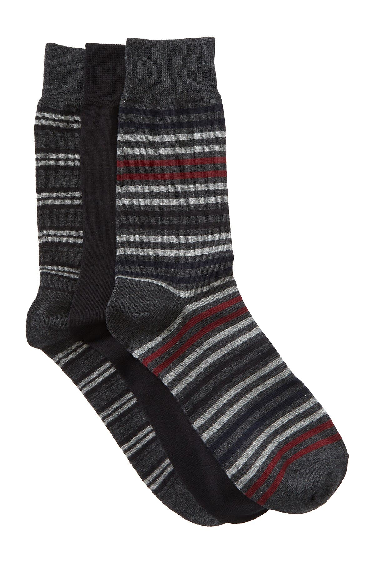 Image of Slate & Stone Striped Crew Socks - Pack of 3