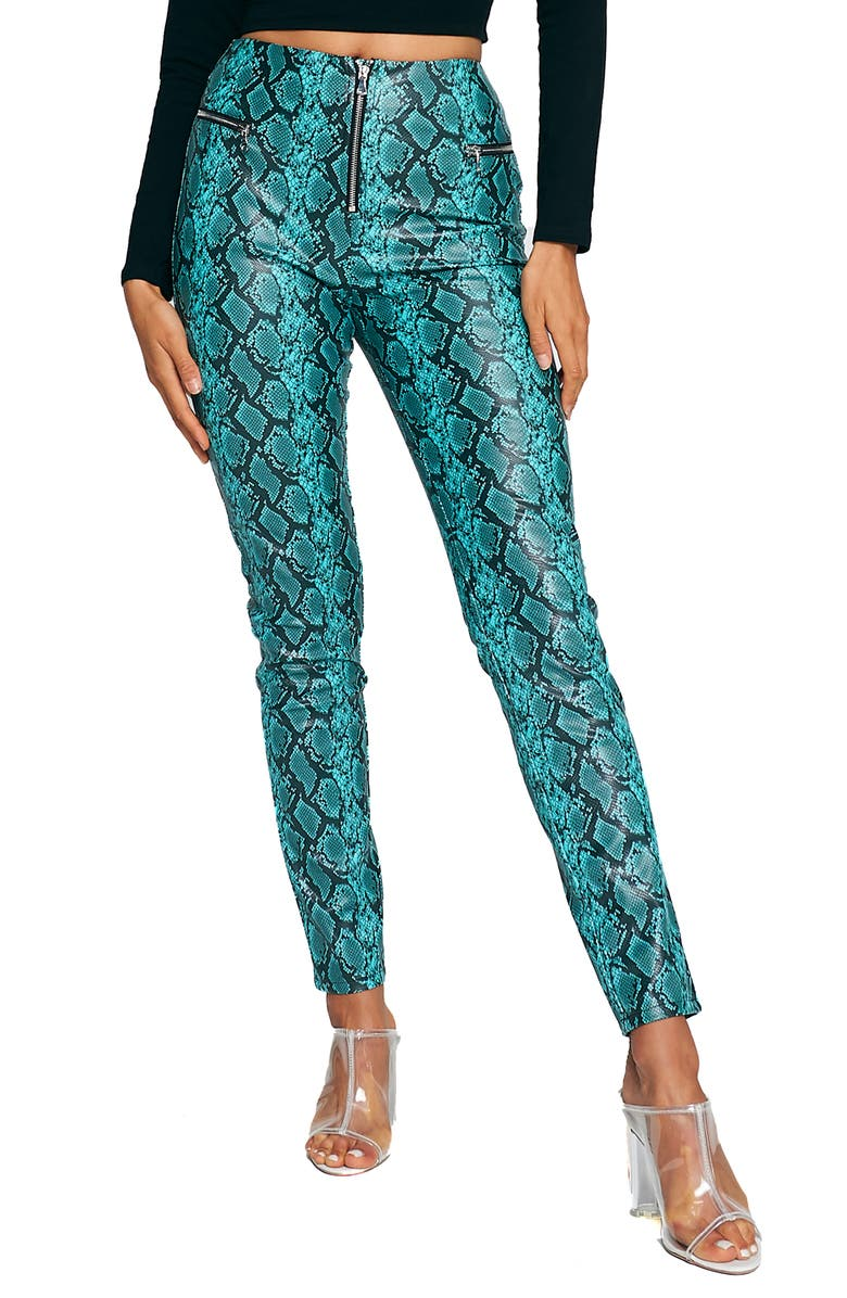 TIGER MIST Pearl Snake Print Faux Leather Pants, Main, color, BLUE SNAKE