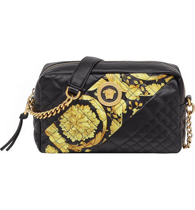VERSACE Baroque Icon Quilted Leather Camera Bag, Main, color, BLACK MULTI/ TRIBUTE GOLD