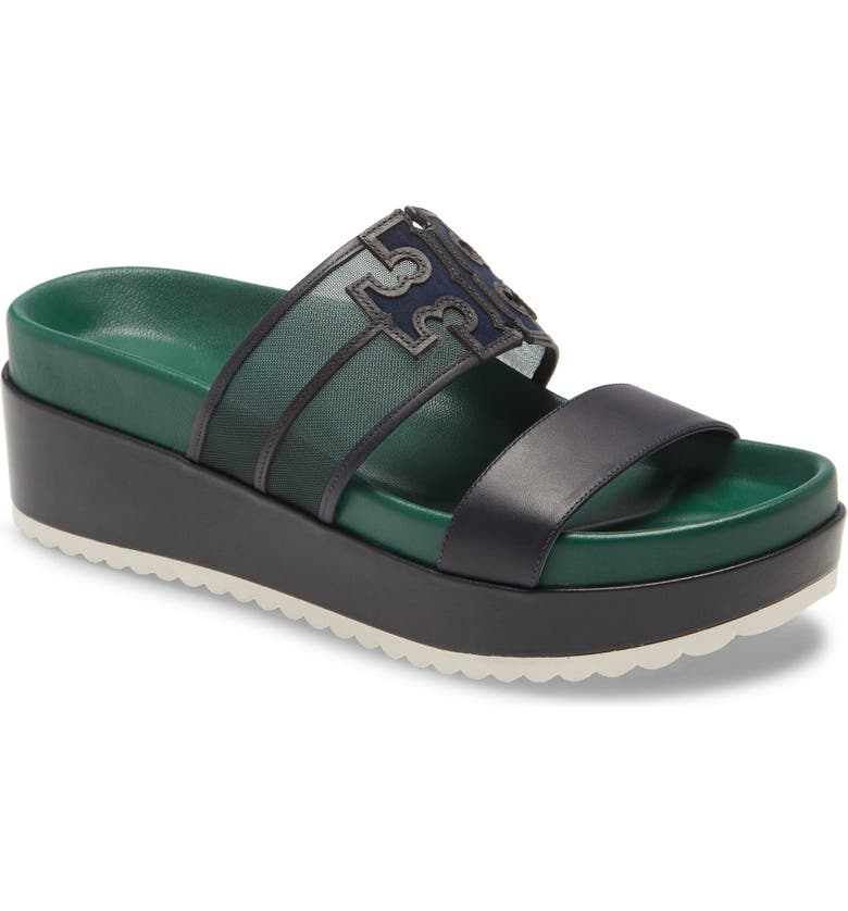 TORY BURCH Ines Platform Slide Sandal, Main, color, MALACHITE/ PERFECT NAVY