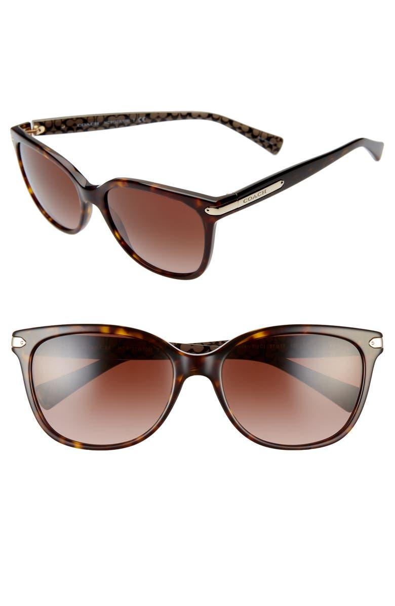 COACH 57mm Retro Sunglasses, Main, color, DARK TORTOISE/ BROWN GRADIENT