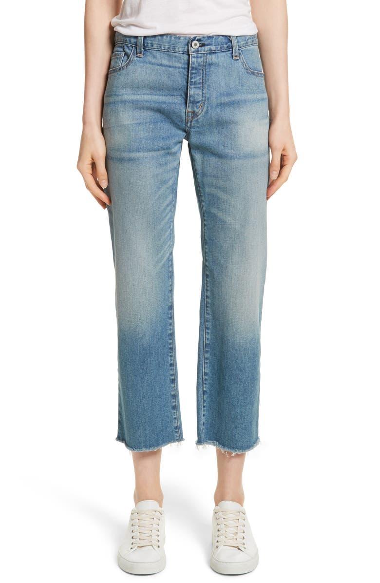 NILI LOTAN Raw Edge Crop Boyfriend Jeans, Main, color, VENICE WASH